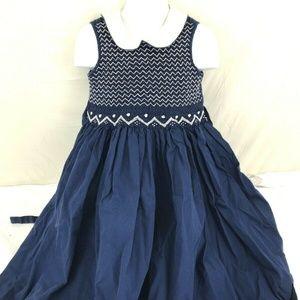 Copper Key Little Girls Size 5 Blue Smocked Dress